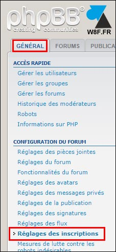 tutoriel phpbb reglages inscriptions