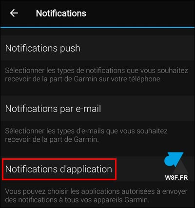tutoriel parametres notification application montre Garmin