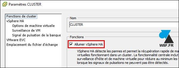 VMware vSphere Client activer HA