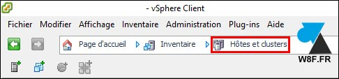 VMware vSphere Client inventaire hote cluster