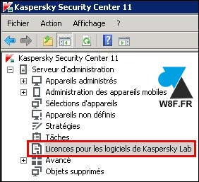 tutoriel licence Kaspersky Security Center KAV KES