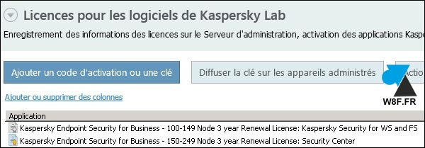 tutoriel ajouter licence Kaspersky Security Center liste licences