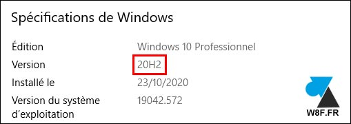 Windows 10 20H2 2009 W10 version