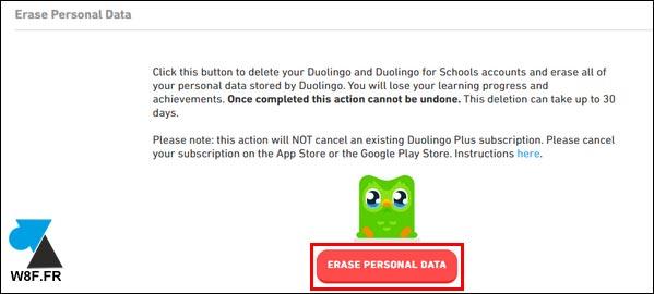 tutoriel duolingo supprimer compte erase personal data