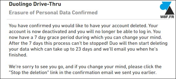 tutoriel duolingo supprimer compte erase personal data mail