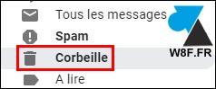 gmail plus corbeille