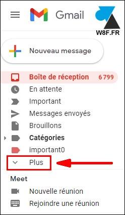 gmail plus menu dossier libellé