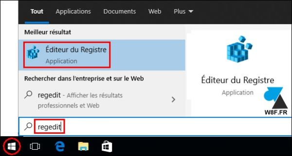 tutoriel ouvrir regedit Windows 10