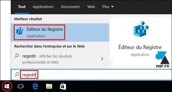 tutoriel ouvrir regedit Windows 10