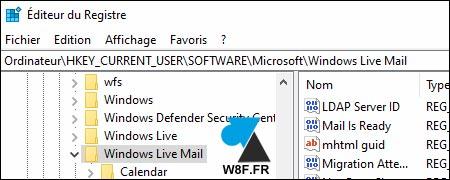 tutoriel regedit Windows Live Mail
