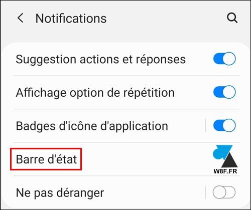 tutoriel paramètres notifications Samsung Galaxy Tab réglages configuration barre etat
