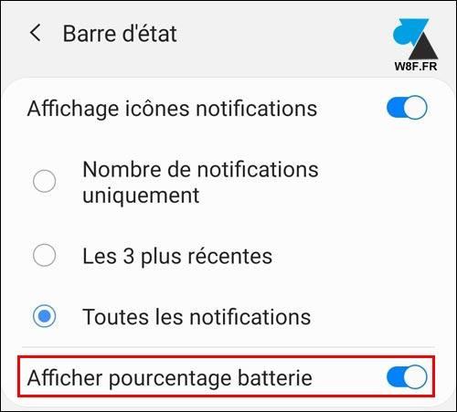 tutoriel Samsung One UI afficher pourcentage batterie