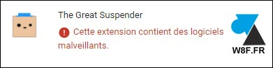Google Chrome The great suspender extension disable
