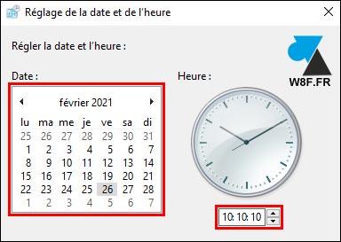 tutoriel changer la date et heure Windows 10 Server