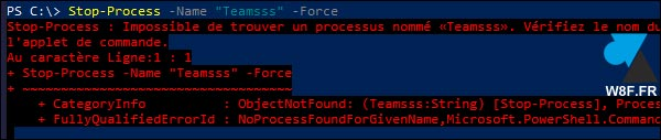 tutoriel Windows 10 PowerShell stop process error