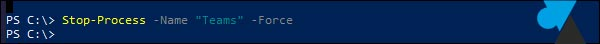 tutoriel Windows 10 PowerShell stop process name