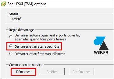 tutoriel VMware activer ESXi Shell service