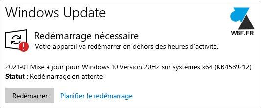 tutoriel Windows Update redémarrage Windows 10 reboot