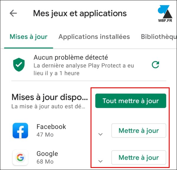 tutoriel Google Android Play Store jeux et applications update