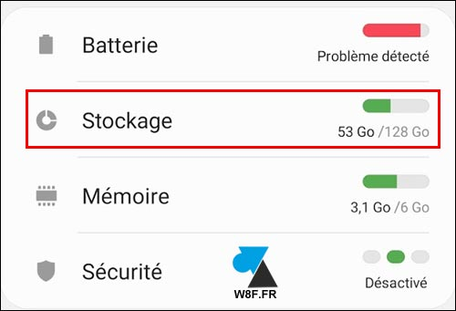 tutoriel Samsung Android stockage memoire interne