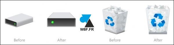 nouvelles icones disque dur ssd corbeille Windows 10