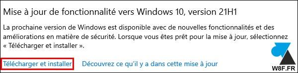 tutoriel telecharger installer mise à jour Windows 10 21H1 update
