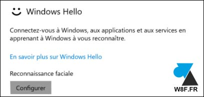 tutoriel Windows Hello sur Windows 10 W10 webcam