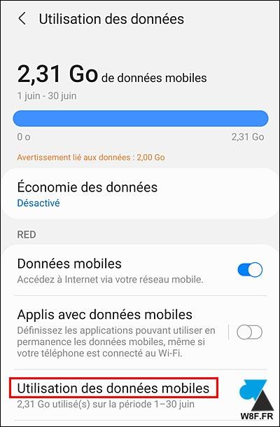 tutoriel Samsung Android limite quota données mobiles 4G