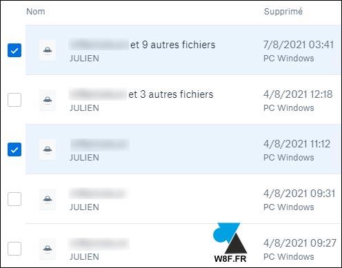 tutoriel Dropbox fichiers supprimés deleted files