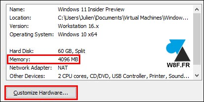 tutoriel créer machine virtuelle Windows 11 RAM
