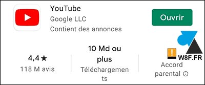 YouTube application Android 10 milliards