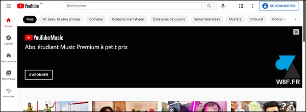 YouTube avec publicité