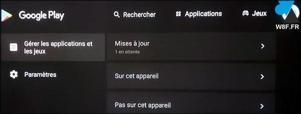 tutoriel Android TV mise à jour Google Play Store