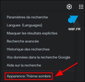 google apparence theme sombre