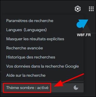 tutoriel Google theme sombre